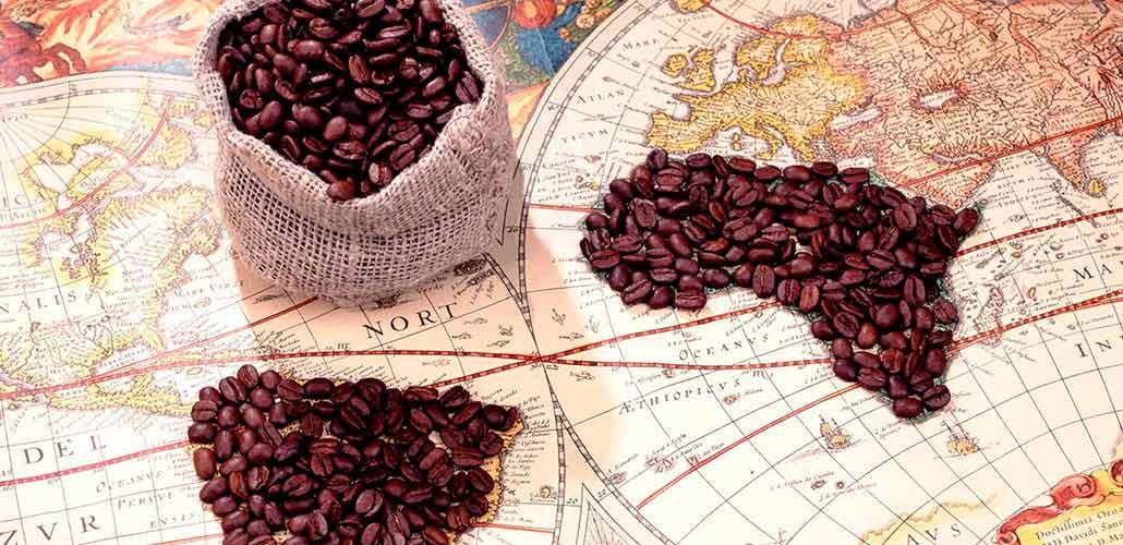 Кофейные зерна на карте