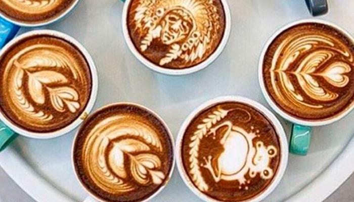 Различные необычное рисунки на кофе