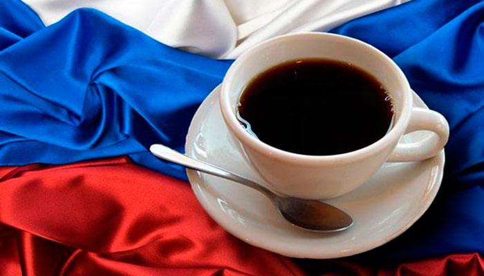 Чашка кофе на флаге России
