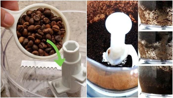 Помол кофе в кухонном комбайне, фото